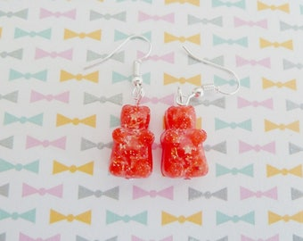 Sweet red Teddy bear earring