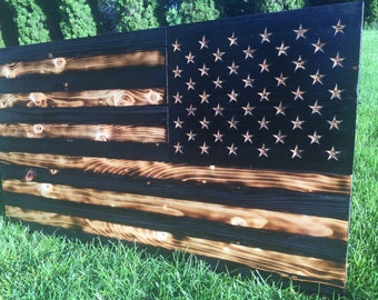 "Wood ""Assualting Charred"" American Flag"