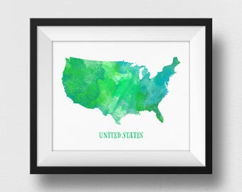 Green US Map Wall Art, US Map Poster, United States Map Print, Map Of USA Wall Art, Nursery Decor, Watercolour Map, Kids Room Decor (732)