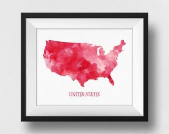 Red US Map Wall Art, US Map Print, United States Map Poster, Map Of USA, Nursery Decor, Red Watercolour Map, Kids Room Decor (733)