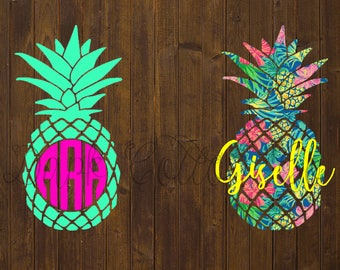 Pineapple Decal - pineapple monogram, custom decal, custom monogram, yeti decal, yeti tumbler, glitter tumbler, glitter decal, pineapple