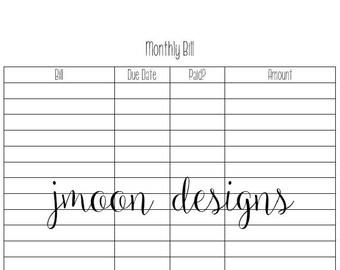Monthly Bill Tracker, Budget Printable, Financial Planner, Budget Binder, Instant Download