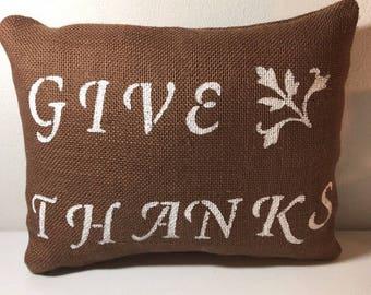 Rectangle burlap pillow!