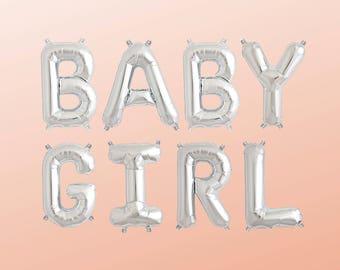 """BABY GIRL Letter Balloons   16"""" Silver Letter Balloons   Metallic Letter Balloons   Silver Party Decorations"""