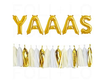 "YAAAS Letter Balloons   16"" Gold Mylar Letter Balloons   Engagement Balloons   Wedding Decor   Birthday Balloon   Gold Party Decorations"