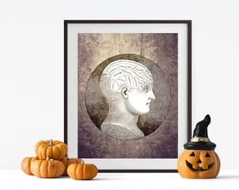 Eerie Phrenology Head Print