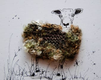 "Woolly sheep portrait ""Wallis"".   Original, ink and wool illustration"