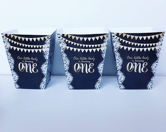 First Birthday Chalkboard Popcorn Boxes. Set of 4 Boxes