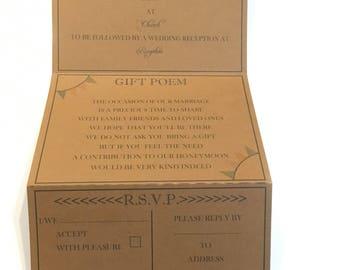 Vintage concertina style rustic invitation