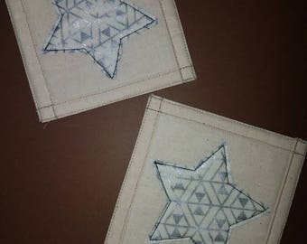 Tan with silver/white star quilted coasters