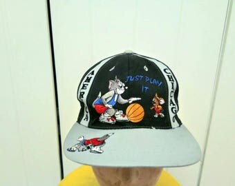 Rare Vintage AMERICA CHICAGO Cartoon Characters Play Baseball Cap Hat Free Size Fit All