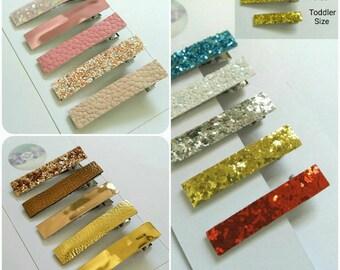 Fringe clips, rose gold, blush pink, hair set, girls, toddlers, glitter hair clips, bronze, christmas,white, blue, red, silver, gold, uk
