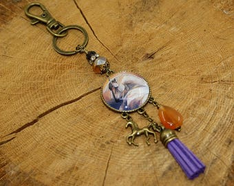 Keychain, bag cabochon horse hook