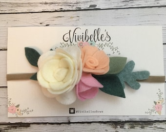 Felt Flower headband, Baby Boho headband, Woodland baby flower headband, floral crown, baby birthday crown, cream headband, flower girl