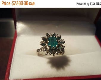 ON SALE Vintage Emerald and Diamond 18k White Gold Ring