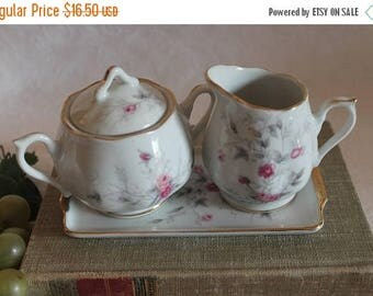 SALE Vintage Napco Porcelain Creamer and Sugar Bowl Set with Matching Tray - White with Pink Roses, C - 5418