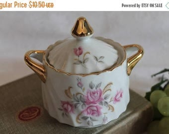 SALE Lefton China White Swirl Porcelain Sugar Bowl with Pink Flowers and gold Accents - 3167