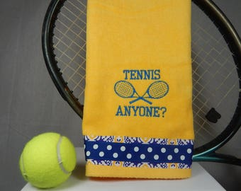 "Yellow or Pick Your Color ""Tennis Anyone"" Embroidered Tennis Towel"