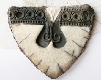 Large raku pendant black white and grey ceramic style antique handmade