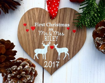 First Christmas Married, First Christmas as Mr and Mrs, Couples Christmas ornament, Married Christmas decoration 16CD