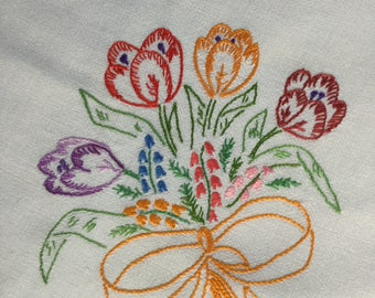 Embroidered Tablecloth - Vintage 1960s