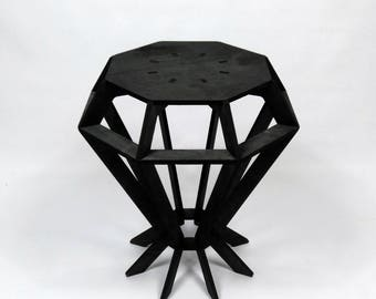 Diamond Shaped Side Table Small Table Laser Cut Plywood Table.