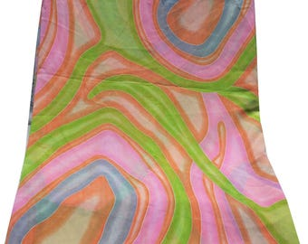"""By the Yard Fabric Indian Women Dress Material Sewing Abstract Printed Curtain Drape Georgette Fabric Top Tunic Fabric Wrap 40"""" Wide"""