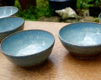 Medium-sized Textured Blue Cereal/Soup Bowl