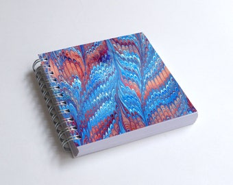 "Notebook 4x4"" decorated with motifs of marbled papers - 43"