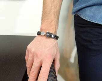 EXPRESS SHIPPING,Black Thick Braided Leather Bracelet, High Quality Leather Bracelet, Men's Jewelry, Chrome Hook Clasp Bracelet, Valentine's