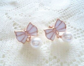 White bow stud earring, Gold plated & Pearl earring