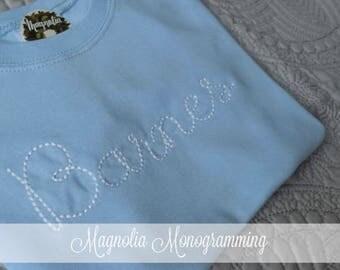 Boys Ice Blue Monogrammed Shirt