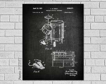 Percussion Gifts, Percussion Wall Art, Drum Patent Print, Drum Blueprint, Drummer Gift - Drum Poster - Drum Wall Art -  Drummer Decor, MD271