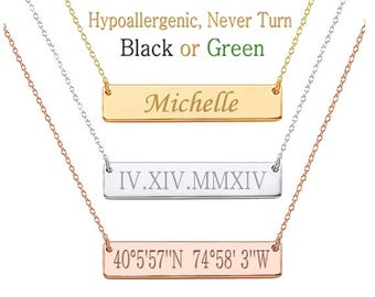Custom Name,  Bar Necklace,  Name Necklace, Monogram Necklace, Personalized Name Necklace,  Kim Kardashian, bridesmaid gift, Christmas