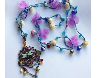 Dragonfly Crochet Summer Necklace