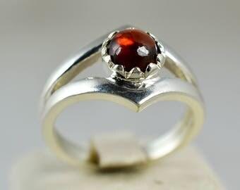 Garnet Ring ~ Garnet Silver Ring ~ Garnet ~ 925 Solid Sterling Silver ~ Silver Ring ~ Handmade Ring ~ Brown Ring  Sizes 4 to 13 US