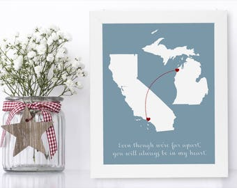 Going Away Gift For Friend Unique Long Distance Gift 2 Map Art Two Map Print Personalized State Country Distance Present Birthday Gifts