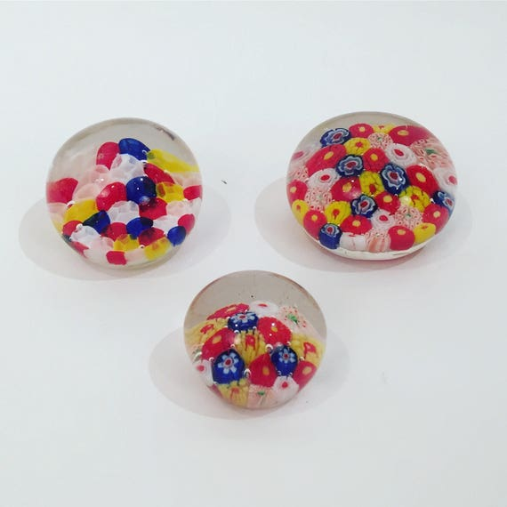 Set Of 3 Colorful vintage glass Paperweights in different sizes