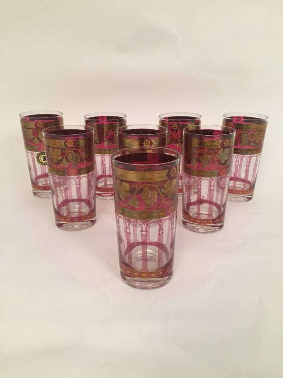 Vintage 22K Gold highball Glasses pink and Gold
