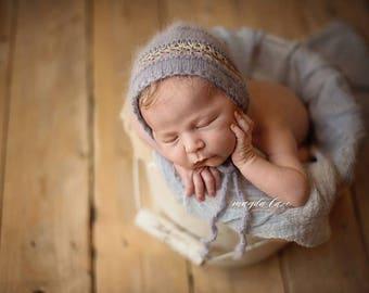 Angora Newborn Photo prop bonnet , newborn photo, photo prop, newborn props, newborn hat, photography props, angora bonnet, newborn clothes