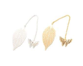 Gold/ Sliver Color Plated Leaf Vein Bookmarker, Butterfly