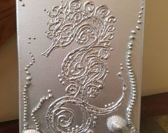 Beautiful Silver Textured Seahorse painting