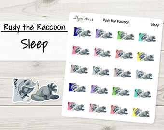 Sleep | Rudy the Raccoon | Planner Stickers
