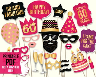 60th birthday photo booth props: printable PDF. Hot pink and gold. Sixtieth Bday props. Birthday party ideas for women. Digital download