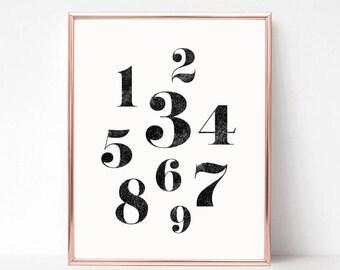 Printable Wall Art Prints, Printable Quotes, Digital Print, Digital Download, Modern Decor, Numbers Print, Nursery Print, Nursery Decor