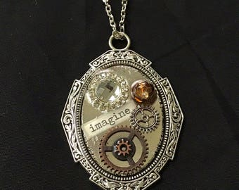 steampunk necklace, vintage necklace, gear necklace, pendant necklace, steampunk pendant, gear pendant, steampunk victorian, gear jewelry