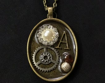 gear necklace, initial necklace, vintage necklace, steampunk pendant, steampunk jewelry, gear jewelry, gear necklace, initial