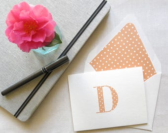 Personal Stationery with Monogram - Polka Dot Notecards - Personal Note Cards - Set of 10 - Orange and White Polka Dot