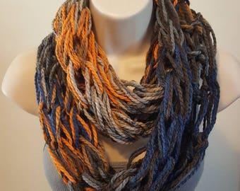 Blue, Gray & Orange Blend Arm Knit Infinity Scarf