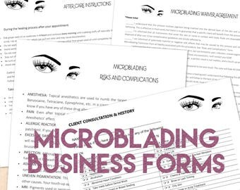 Microblading Permanent Makeup Business Kit -your Logo - Consent Client Waiver - After Care - Intake - Professional Forms - PDF digital